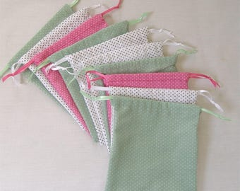Party Favor bags, drawstring bags, jewelry bags, candy bags, soap bags. Pin dots. Set of 10.