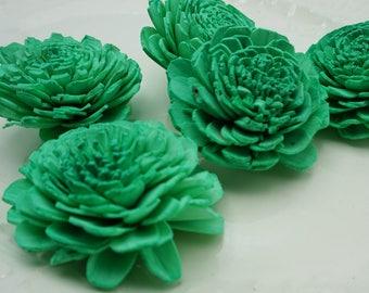 Vintage Green Sola Bali Wood Flowers- qty 5