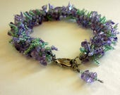 Beaded Fringe Bracelet Purple Green Beaded Leaves Bracelet