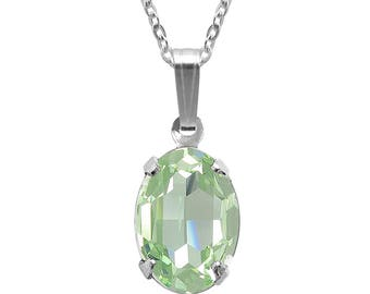 Swarovski Crystal Oval Pendant Necklace Sterling Silver Chrysolite – CHOICE OF COLOURS