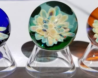 UV Reactive Art Glass Marbles, Frit flower compression