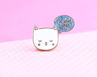 Cute Cat Enamel Lapel Pin, cute enamel pin hat badge