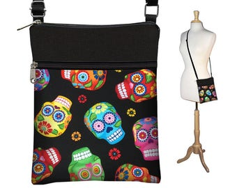 Small Cross Body Purse Crossbody Bag Sling Shoulder Bag Purse  Hipster Travel Bag fits eReader Case cute sugar skulls day of the dead  RTS