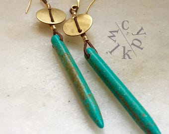 Turquoise Spike and Disc Earrings in Leather, Turquoise blue long earrings, Spike Earrings, Leather earrings