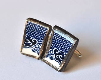 SUMMER SALE Broken China Cuff Links - Blue Willow