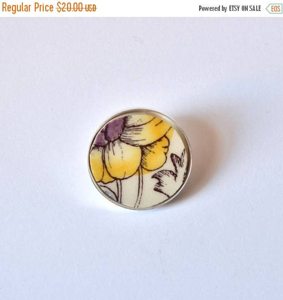 VALENTINE SALE Recycled China Simple Circle Brooch - Yellow and Purple Flower - Scarf Pin