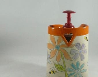 Ceramic Art Vase in flower power design, pencil holder desk accessory, toothbrush holder, kitchen utensil caddy, artistic vessel 870