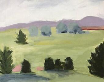landscape painting pine trees green landscape original landscape 16x20