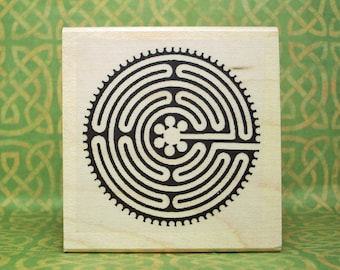 Labyrinth Spiral Chartres Cathedral Inspired Rubber Stamp # 485