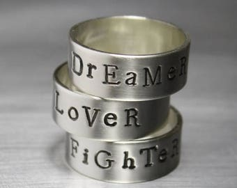 ON SALE TODAY Hand Stamped Ring, Personalized Ring, Word Ring, Motivational Jewelry