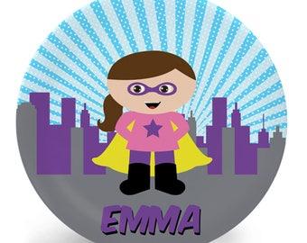 Superhero Girl Plate for Kids, You Choose Hair, Skin, Eye Color, Personalized Melamine Plate (Plastic), Custom Tableware for Kids, Bowl, Mug