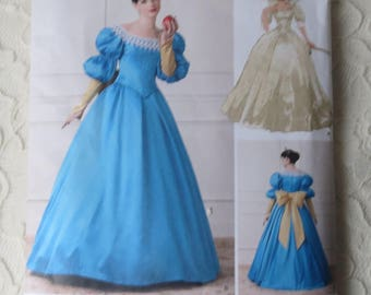 Simplicity 1728 Sewing Pattern Princess 16th Century Fairy Tale Gowns Costume for Adults Size 4-12
