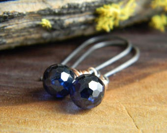 Sapphire Blue cubic zirconia Earrings  - Oxidized Silver and 14k Rose Gold Filled dangle earrings