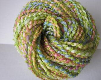 Hand Spun Merino Lambs Wool Soy Silk Mohair Boucle Yarn (Spring Pastel Garden) 106 yards