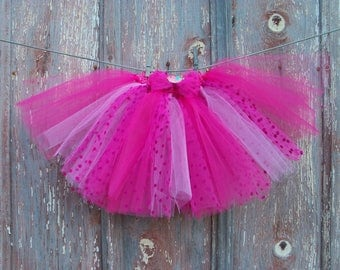 Size 2T-6 Pink Polka Dot Tutu with Matching Bird Hair Bow