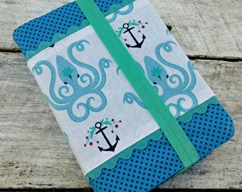 NWT Cute prints reversible fabric Bible cover, octopi and polka dots, standard sized. Octopus bible cover. Sea theme. Rick rack and anchors.