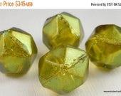 20% Summer SALE 13mm Czech English Cut Metallic Olivine Bronze Luster Czech Glass Beads
