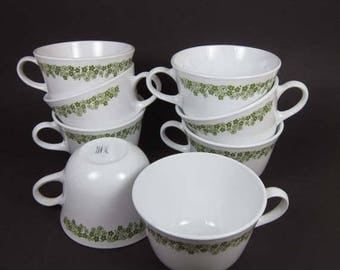 ON SALE Corelle Spring Blossom Tea Cups Set of 8 White Glass Green Flowers Floral