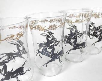 ON SALE Vintage Mid Century Tumblers Set of 8 Black Gold Gazelles Antelope Deer Glasses Clear
