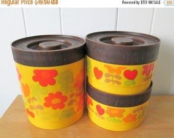 LOVE SALE vintage yellow flower plastic canister set Alladinware
