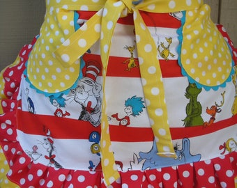 Womens Aprons - Dr. Seuss Aprons - Teachers Aprons - Red Aprons - The Cat in the Hat Aprons - Annies Attic Aprons - Teachers Gifts - Etsy