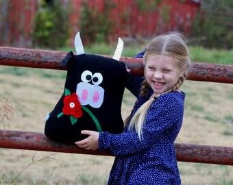 Ferdinand the Bull - Stuffed Cow - Cow Plush - Black Cow - Classic Children's Book - Black Angus - Plush Cow - Cow Gift - Farm Decor