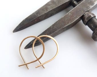 Super Tiny Perfect Hoops in Gold - Small Minimalist Everyday Lightweight Hoop Earrings Handmade by Queens Metal