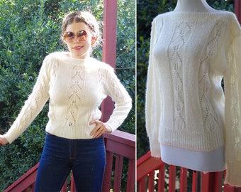 EYELETS 1970's 80's Vintage Sheer Cream White Acrylic Knit Sweater // size Medium