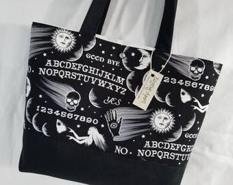 Ouija Board fabric Skull Moon Sun Halloween purse tote bag handbag
