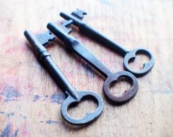 Rustic Antique Skeleton Key Trio - Perfect Pendant Keys