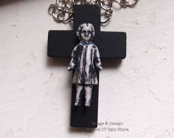 Frozen Charlotte Doll On A Black Cross Necklace by Ugly Shyla -  Ugly Art Dolls - Gothic Cross - Choker - Gothic Jewelry - Grunge