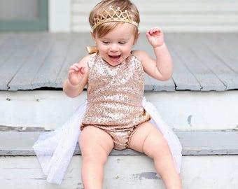 Romper - Tulle skirted, Skirted, Sequin Top Romper - Sequin Romper - Birthday Romper - Photoshoot - Rose Gold Sequin Romper