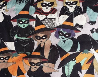 Belinda the Curvy Witch on Smoke Gray Halloween Woven Cotton Fabric Alexander Henry Cotton Fabric 1 Yard