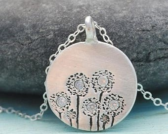 ON SALE ON Sale Dandelion necklace, pendant with 7 Dandies and 5 clear cz's, silver. Handcrafted by artisan Chocolate and Steel handmade fl