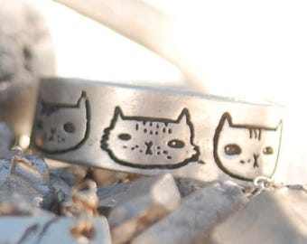 ON SALE Illustrated wide band CAT Heads ring, illustrated by Gemma Correll, eco-friendly sterling silver. Handcrafted by Chocolate and Steel