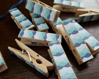 Chunky Little Clothespin Clips w Twine - Beach Party - Ocean Waves - Blue Mermaid Scales - Set of 12 - Pool Party - Summer Memories