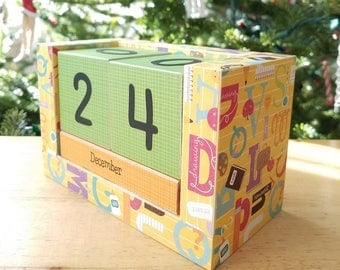 Perpetual Wooden Block Calendar - Elementary School Alphabet - School Themed - Desk Tools - Great Teacher Student Gift - Gifts for 20