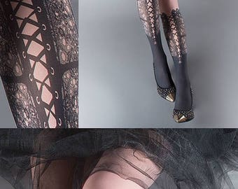 ON SALE/// Tattoo Tights,  dusty pink one size Lace Up print full length closed toe printed tights pantyhose, tattoo socks