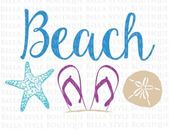 Beach Starfish Sand Dollar Flip Flops Vacation Relax svg cut file