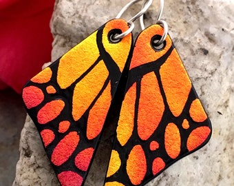 DICHROIC EARRINGS Butterfly Wings Autumn Orange Hand Etched Fused Glass with Sterling Silver Hooks