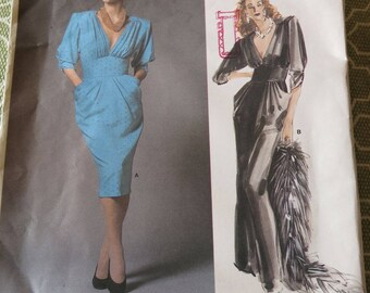 Vintage 80s Vogue Paris Original Nina Ricci Dress Sewing Pattern sz 8 B31.5
