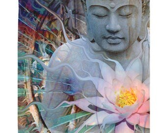 Buddha Tapestry - Living Radiance - Colorful Buddha and Lotus Blossom Artwork on Lightweight Polyester Fabric