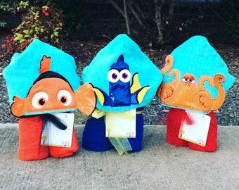 Nemo Inspired Hooded Towel Nemo, Dori, Hank, Large Kids Hooded Towel