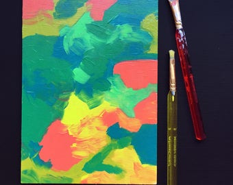 """Abstract """"1950s Crayons"""" Painting with Free Shipping by Amanda Laurel Atkins"""