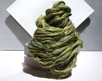 "Green Thick Thin Yarn, bulky handspun yarn ""Lichen""  yellow green gold grey gray Crochet, Knitting, weaving yarn, Merino Silk yarn"