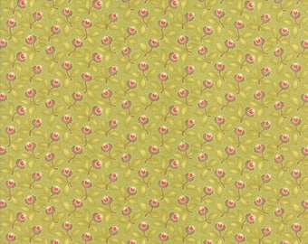 Hazel and Plum - Plum Blossoms in Citron Green: sku 20291-18 cotton quilting fabric by Fig Tree and Co. for Moda Fabrics