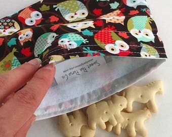 Reusable Snack bags, Sandwich bags for School or work lunch, wise owls for fall, Zero waste lunch, fun for kids
