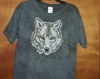 Adult Handmade Batik Wolf T-shirt