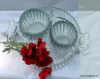 Jeannette National HobNail Bubble Glass Crystal Creamer and Sugar Set, Serving Set, Kitchen Decor, Housewarming Gift