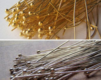 Ball Head Pins 22 Gauge 2 Inches Gold or Silver Color 100 Pieces